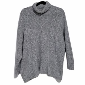 Aerie Oversized Fit Grey Turtleneck Cable Sweater